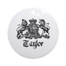Taylor Vintage Crest Family Name Ornament (Round)