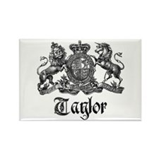 Taylor Vintage Crest Family Name Rectangle Magnet