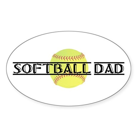 Softball Dad Oval Sticker