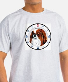 Red Japanese Chin N Paws Ash Grey T-Shirt