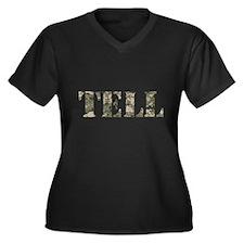 TELL - Women's Plus Size V-Neck Dark T-Shirt