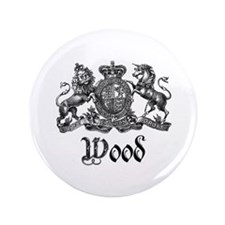 """Wood Vintage Crest Family Name 3.5"""" Button"""