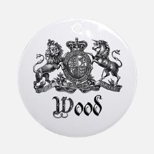 Wood Vintage Crest Family Name Ornament (Round)