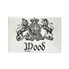 Wood Vintage Crest Family Name Rectangle Magnet