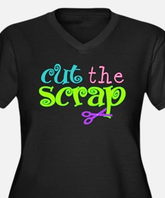 Cut the Scrap Women's Plus Size V-Neck Dark T-Shir
