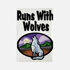 Running with Wolves Rectangle Magnet