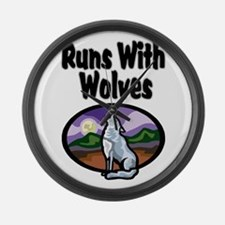 Running with Wolves Large Wall Clock