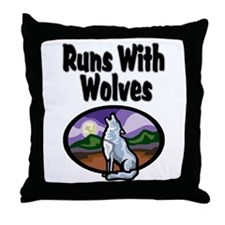 Running with Wolves Throw Pillow