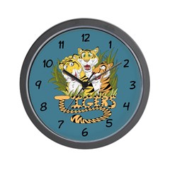Trio of Cartoon Tigers Wall Clock