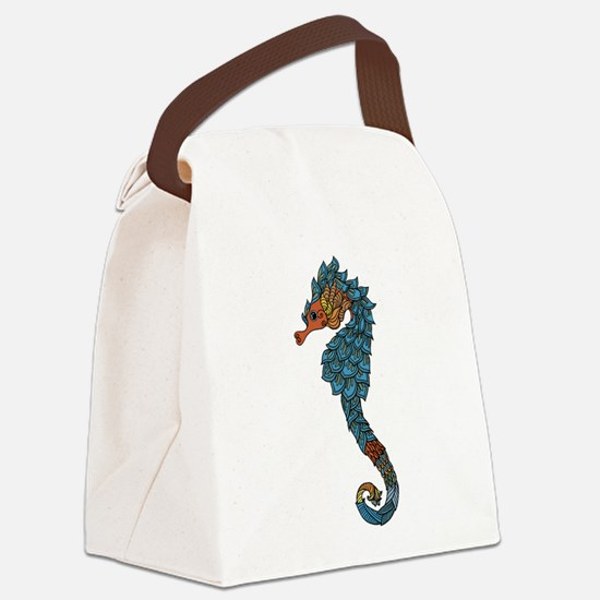 colorful Seahorse Canvas Lunch Bag