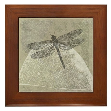 Dragonfly on leaf Framed Tile