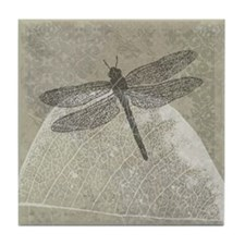 Dragonfly on leaf Tile Coaster