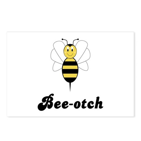 Smiling Bumble Bee Bee-otch Postcards (Package of