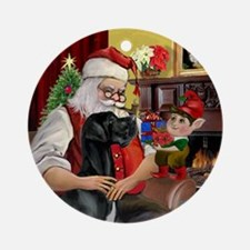 Santa & His Black Great Dane Ornament (Round)