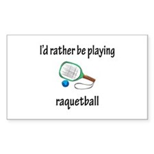 Playing Raquetball Rectangle Decal