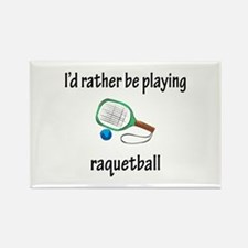 Playing Raquetball Rectangle Magnet
