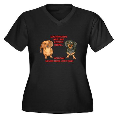Potato Chips Women's Plus Size V-Neck Dark T-Shirt