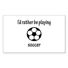 Playing Soccer Rectangle Decal