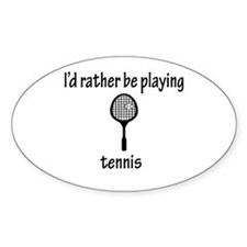 Playing Tennis Oval Decal