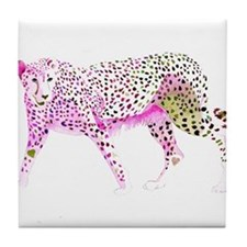 Cheetah Pink Lime Tile Coaster