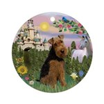 Castle and Welsh Terrier Ornament (Round)