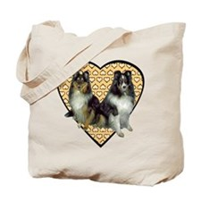 Valentine Tri-color Shelties Tote Bag