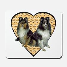 Valentine Tri-color Shelties Mousepad