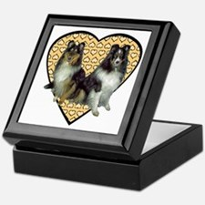 Valentine Tri-color Shelties Keepsake Box