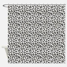 Tan Black White Leopard Pattern Shower Curtain