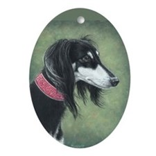 Saluki (Black and Silver) Oval Ornament