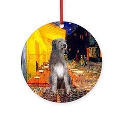 Cafe & Irish Wolfhound Ornament (Round)