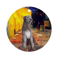 Cafe & Irish Wolfhound Ornament (Round)
