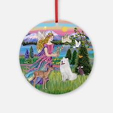 Garden Angel & Samoyed Ornament (Round)