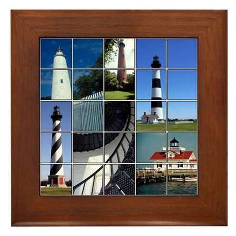 Outer Banks Lighthouses Framed Tile