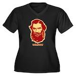 Tolstoy Women's Plus Size V-Neck Dark T-Shirt