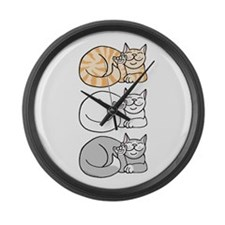 3 ASL Kitties Large Wall Clock