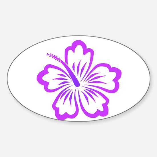 Purple Hibiscus Oval Decal