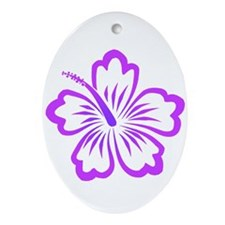 Purple Hibiscus Oval Ornament