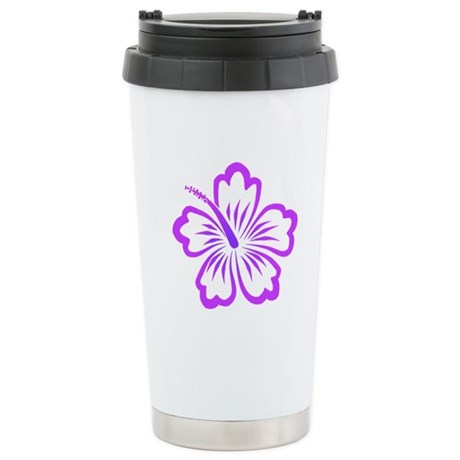 Purple Hibiscus Stainless Steel Travel Mug