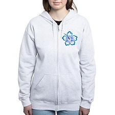 Blue Hibiscus Zip Hoodie