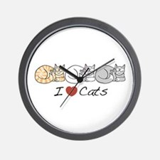 I Heart Cats Wall Clock