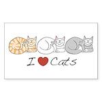I Heart Cats Rectangle Sticker 50 pk)