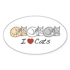 I Heart Cats Oval Decal