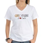 I Heart Cats Women's V-Neck T-Shirt