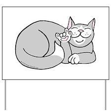 Tuxedo ASL Kitty Yard Sign