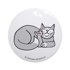 Tuxedo ASL Kitty Ornament (Round)