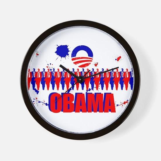 Paint Splatter Obama Wall Clock