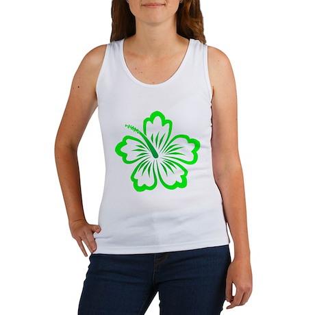 Green Hibiscus Flower Women's Tank Top