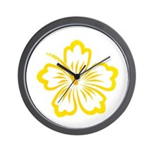 Orange and Yellow Hibiscus Wall Clock