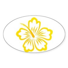 Orange and Yellow Hibiscus Oval Bumper Stickers